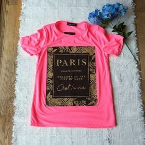 •NEW• Paris Print • Pink & Gold Tee
